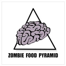 Zombie Food Pyramid Wall Art Framed Print