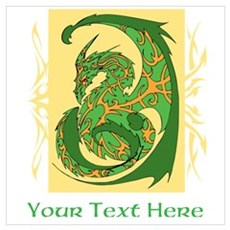 Fancy Dragon and Custom Text Wall Art Poster