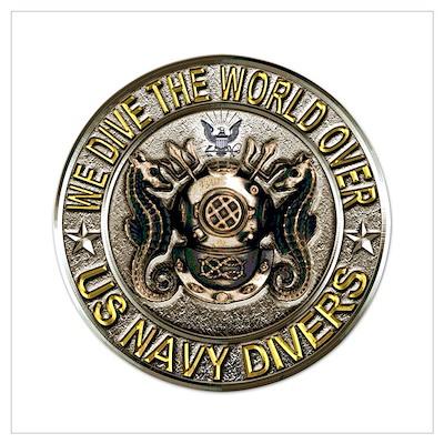 US Navy Diver Metal Wall Art Poster
