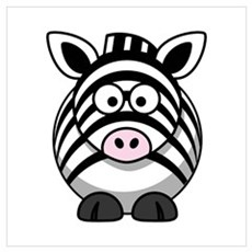 Cartoon Zebra Wall Art Poster