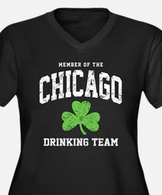 Chicago Drinking Women's Plus Size V-Neck Dark T-S