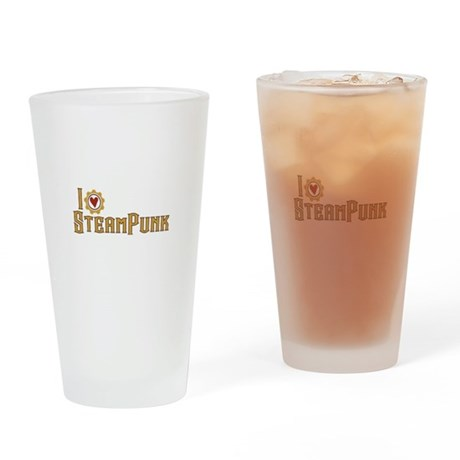 I Love Steampunk Drinking Glass