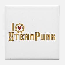 I Love Steampunk Tile Coaster