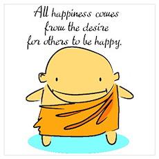 Happiness Buddha Wall Art Poster