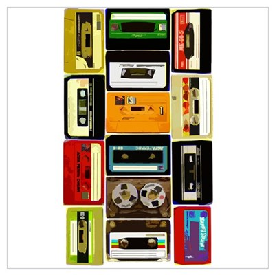 Retro Colored Cassettes Wall Art Framed Print