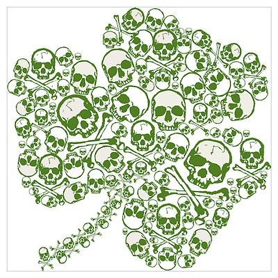 Goth Skulls Shamrock Wall Art Poster