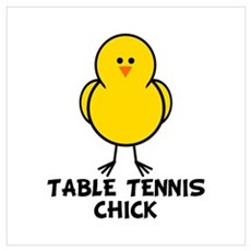 Table Tennis Chick Wall Art Poster