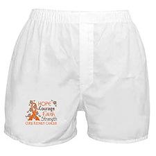 Hope Courage Faith 3 Kidney Cancer Boxer Shorts