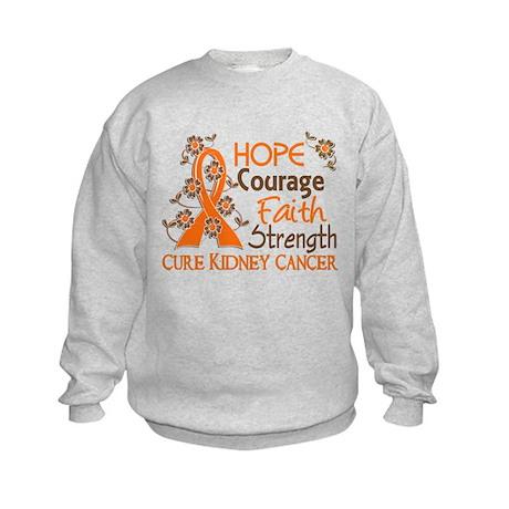 Hope Courage Faith 3 Kidney Cancer Kids Sweatshirt