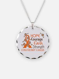 Hope Courage Faith 3 Kidney Cancer Necklace