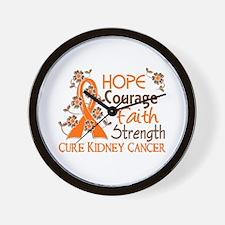 Hope Courage Faith 3 Kidney Cancer Wall Clock
