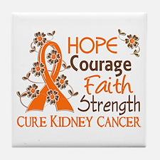 Hope Courage Faith 3 Kidney Cancer Tile Coaster