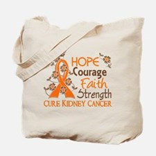 Hope Courage Faith 3 Kidney Cancer Tote Bag
