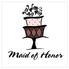 Maid of Honor Pink Cake Wall Art Poster