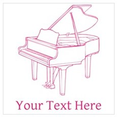 Pink Piano and Custom Text. Wall Art Canvas Art