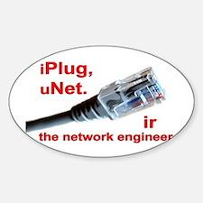"""iPlug, uNet."" Oval Decal"