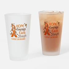 Hope Courage Faith 3 Leukemia Drinking Glass
