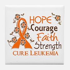 Hope Courage Faith 3 Leukemia Tile Coaster