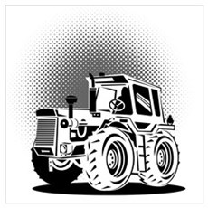 vintage farm tractor Wall Art Poster