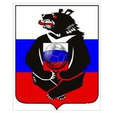 Russian Bear Soccer Football Wall Art Poster