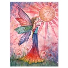 Sunshine and Rainbow Fairy Wall Art Poster