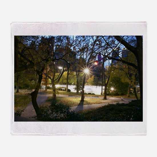 Central Park at Dusk Throw Blanket