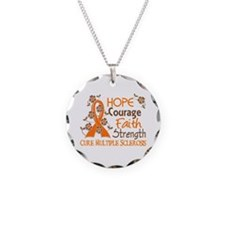 Hope Courage Faith 3 MS Necklace Circle Charm