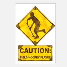 Field Hockey Caution Sign Postcards (Package of 8)