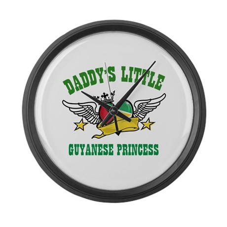 Daddy's little Guyanese Princess Large Wall Clock