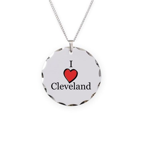 I Love Cleveland - I Heart Cl Necklace Circle Char