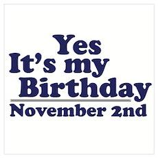 November 2nd Birthday Wall Art Poster