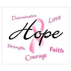 Courage Faith Love Hope 5 (Pink) Wall Art Poster