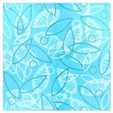 Blue Sketchy Leaves Wall Art Poster