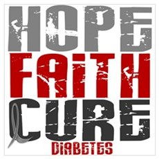 HOPE FAITH CURE Diabetes Wall Art Canvas Art