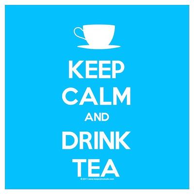 Keep Calm & Drink Tea (Light Blue) Wall Art Poster