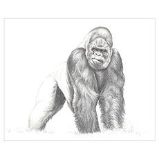 Tatu gorilla portrait Wall Art Poster