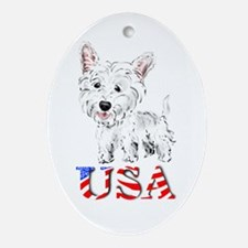USA Westie Oval Ornament