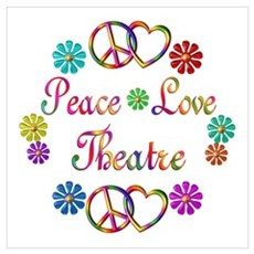 Peace Love Theatre Wall Art Framed Print