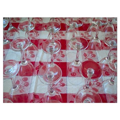 Wine Glasses On Red Checked Cloth Wall Art Poster