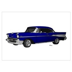 1957 Chevy Dark Blue Wall Art Poster