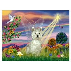 Cloud Angel / Westie Wall Art Poster