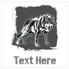 Gray Wolf and Writing. Wall Art Poster