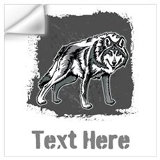 Gray Wolf and Writing. Wall Art Wall Decal