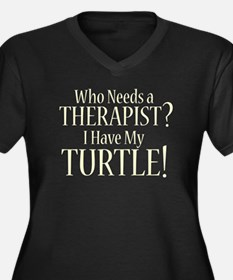 THERAPIST Turtle Women's Plus Size V-Neck Dark T-S