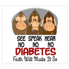 See Speak Hear No Diabetes 1 Wall Art Poster