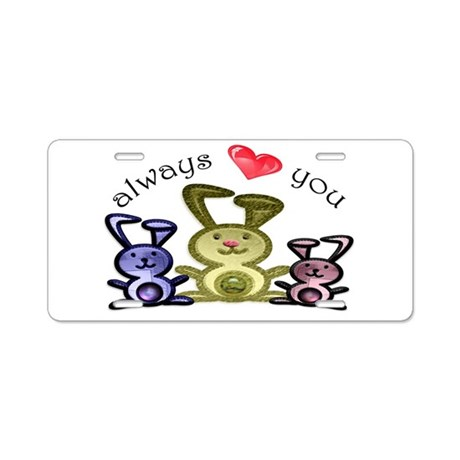 always love you, cute bunnies Aluminum License Pla