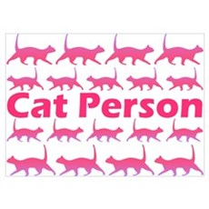 Pink Cat Person Wall Art Poster