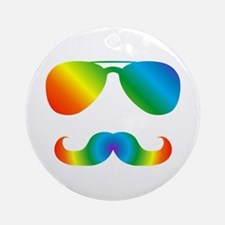 Pride sunglasses Rainbow mustache Round Ornament