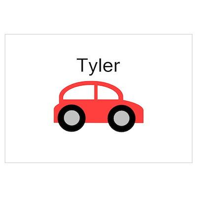 Tyler - Red Car Wall Art Poster