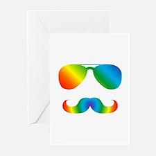 Pride sunglasses Rainbow mustache Greeting Cards